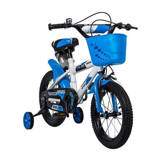 Bicicleta blanco y azul con canasta