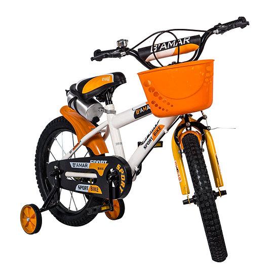 Bicicleta blanco y naranja con canasta