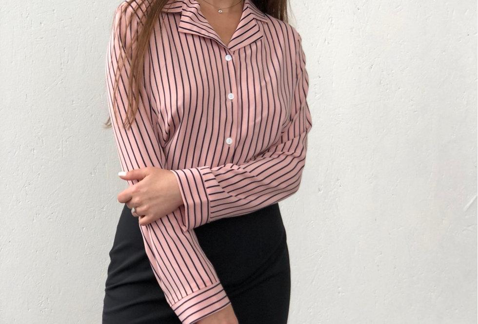 Блузка с лацканами в полоску