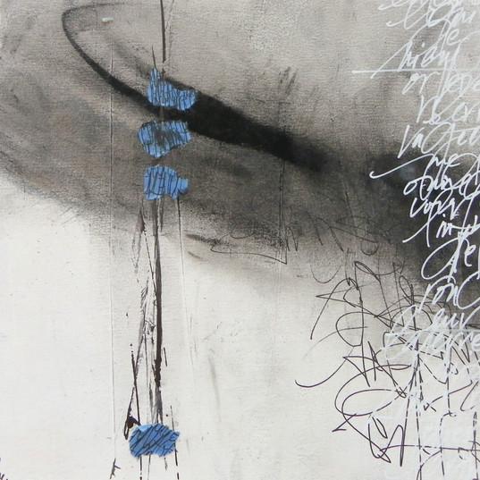 Françoise Michaud Calligraphie Pigments, encre et collage 20x20
