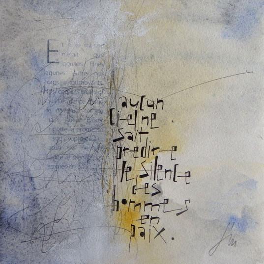 F rançoise Michaud calligraphieAquarelle gensaï et encre sur papier -  20x20