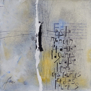 Françoise Michaud calligraphie Aquarelle Gensaï et encre -  20x20 Vendu