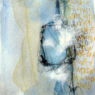 Françoise Michaud calligraphie Aquarelle, encre et pigment 20x20 Vendu