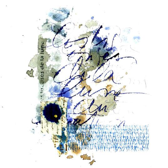 Françoise Michaud calligraphie Encre et collage 20x20 Vendu