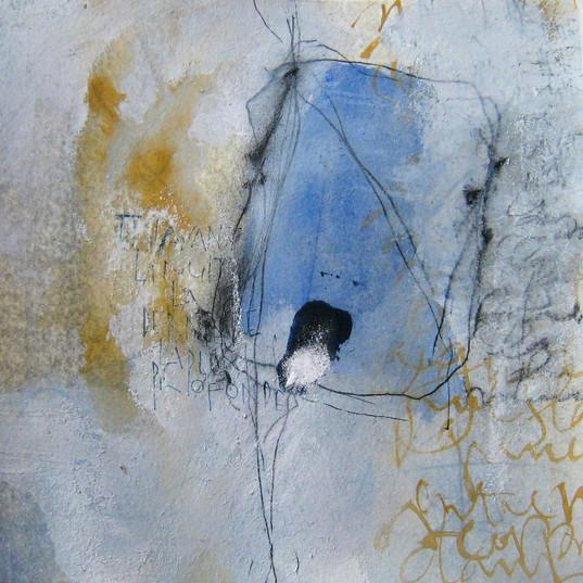 Françoise Michaud calligraphie Aquarelle, encre et pigments 20x20