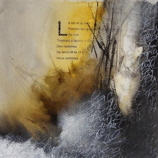 Françoise Michaud - calligraphie Brou de noix, encre de chine, pigment et encre 20x20