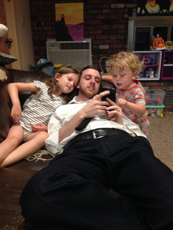 Our niece and nephew convinced Josef to download some ABC games on his phone