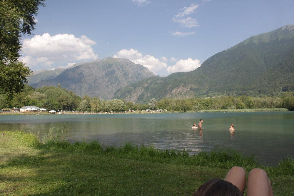 Swimming at the lake in the mountains