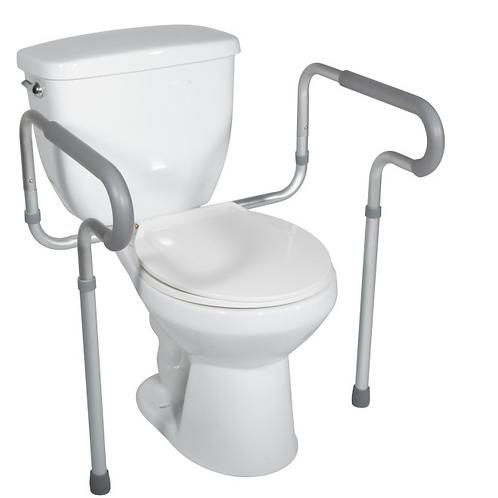 Cadre de sécurité pour toilettes avec bras rembourrés