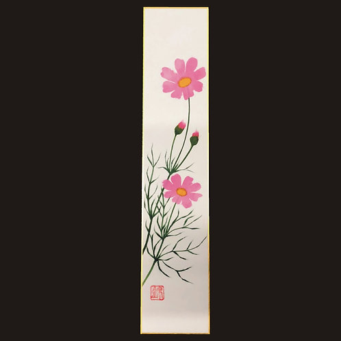 Scroll artwork - Pink flowers on white background