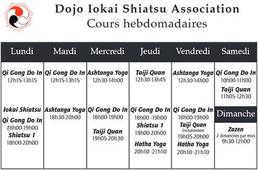 Horaire cours Do-In Iokaï Shiatsu