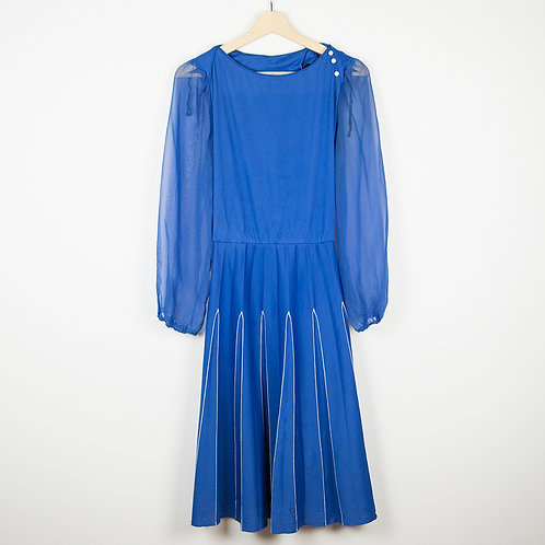 Vestido cobalto mangas transparentes. Talla M