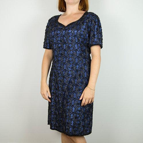 Vestido azul pedrería. Talla L