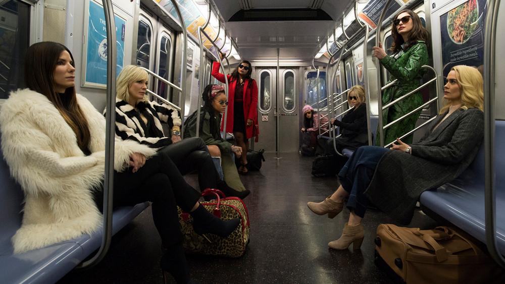 Ocean's 8 Subway Scene; Rihanna, Sandra Bullock, Cate Blanchett, Anne Hathaway, Sarah Paulson, Awkwafina, Mindy Kahling, Helena Bonham Carter; street style