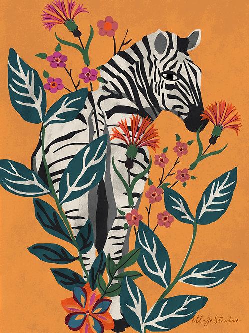EllaJo Jungle Zebra Illüstrasyon