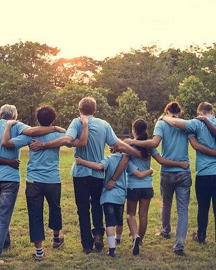 Group of diversity people volunteer arm