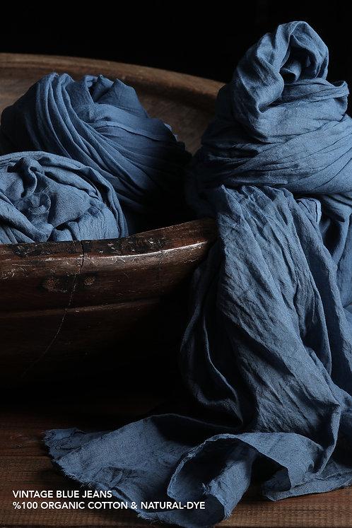 HARMONIOUS Organik Pamuk Handmade Şal Vintage Blue Jeans
