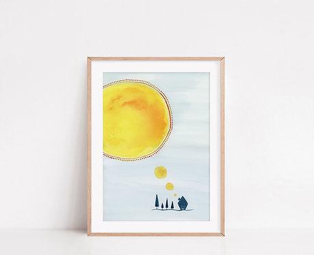 WALLTHINKS Sunny Fine Art Baskı