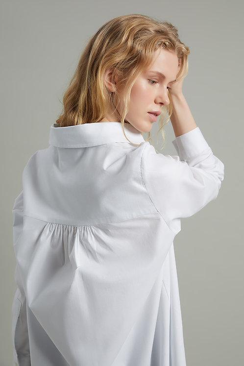 HARMONIOUS Oversize Büzgülu Uzun Poplin Gömlek