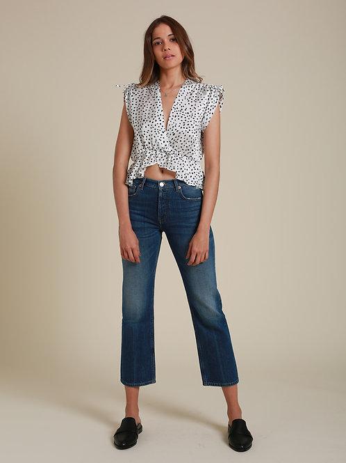 A HİDDEN BEE Orta Bel Crop Flick Jeans