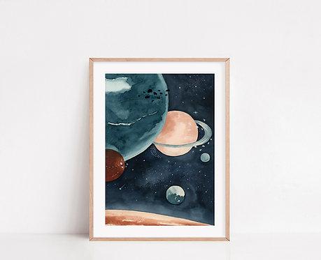 WALLTHINKS Planets Fine Art Baskı
