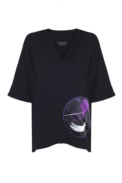 SOUL SPİRİTZ Aimi Neo Saten Baskı Detaylı V Yaka Bluz