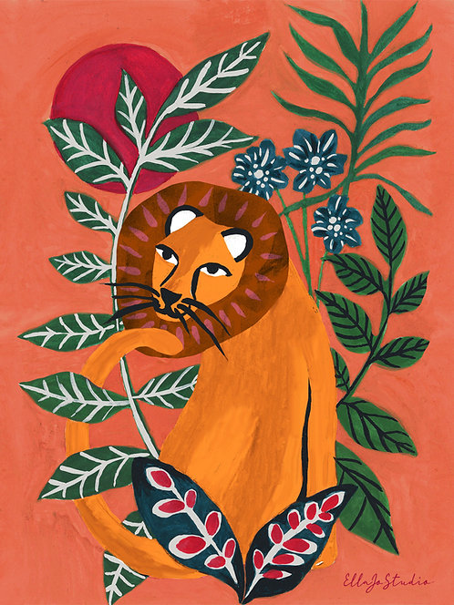 EllaJo Jungle Lion Illüstrasyon