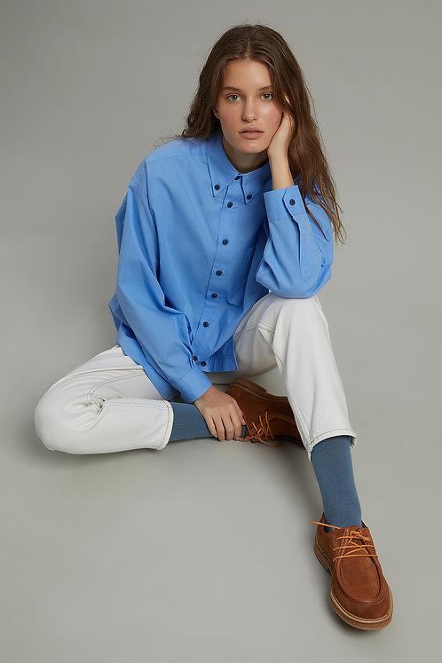 HARMONIOUS Klasik Yakalı Oversize Poplin Gömlek