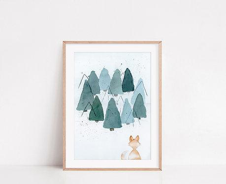 WALLTHINKS Foxy Fine Art Baskı