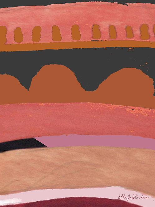 EllaJo Studio Sunset Abstract Illüstrasyon