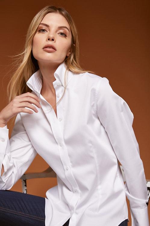 ALL İN WHİTE Yüksek Düğmeli Yaka Gömlek