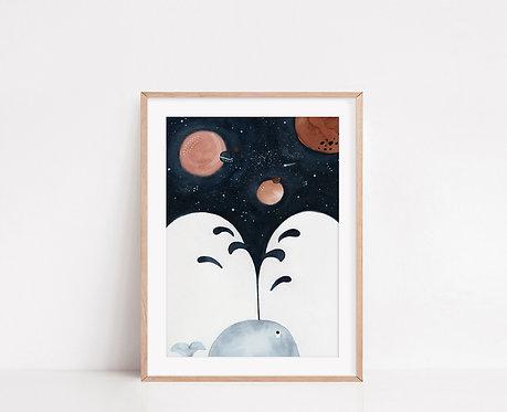 WALLTHINKS Whale Universe Fine Art Baskı