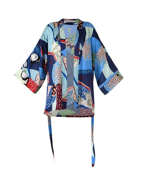 JUNE HEART Ocean Kısa Mavi Kimono