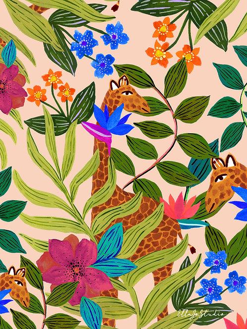 EllaJo Jungle Giraffe Illüstrasyon