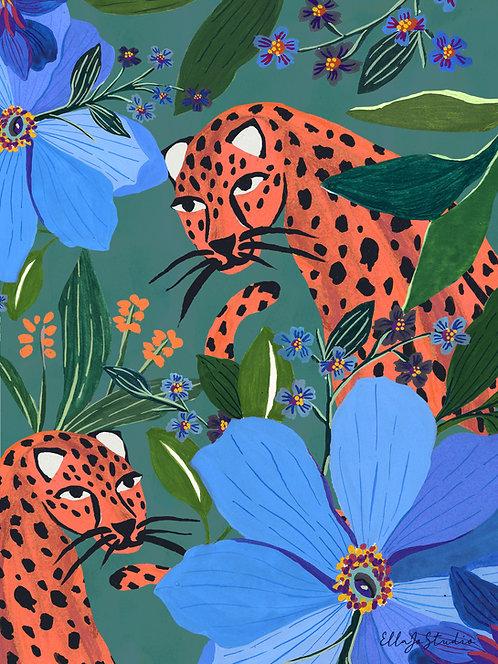 EllaJo Jungle Leopards Illüstrasyon