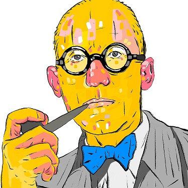 HAUS PLUS İllüstrasyon Architect Le Corbusier - Mat Fotoğraf Kağıdı