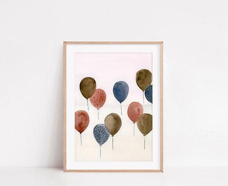 WALLTHINKS Balloons Fine Art Baskı