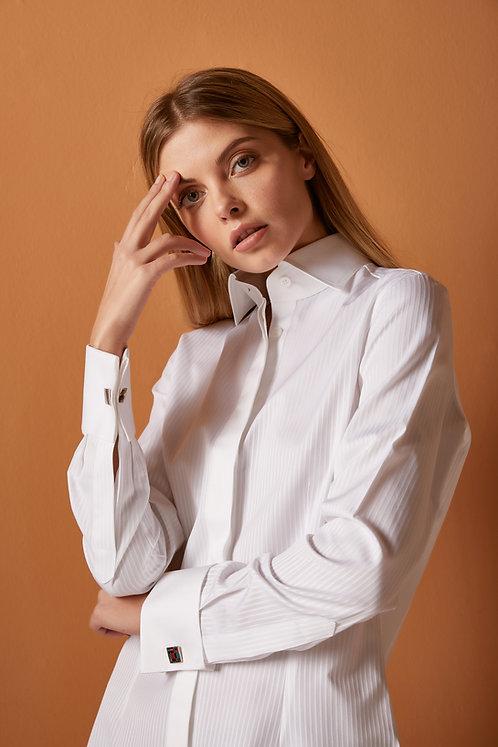 ALL İN WHİTE Beyaz Çizgili & Duble Manşetli Gömlek