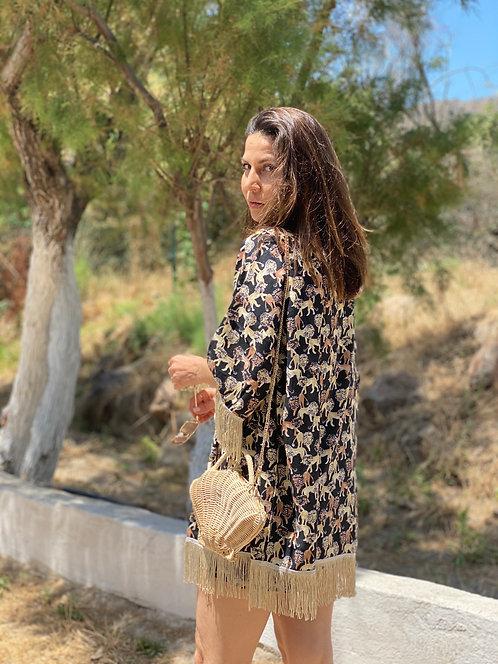 CHILLAX Safari Aslan Keten Püsküllü Kimono