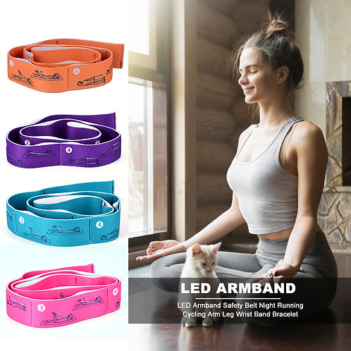 8-Loop Elastic Yoga Pull Strap Stretching Band with Examples