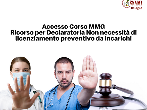 Emilia Romagna Adesione ricorso non incompatibilità incarichi corsisti MMG
