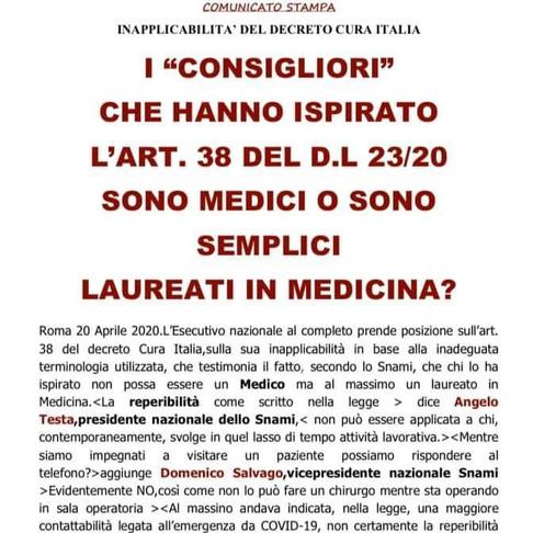 INAPPLICABILITA' DEL DECRETO CURA ITALIA