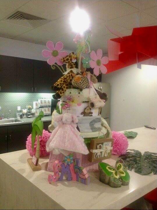 Pink Jungle Diaper Cake