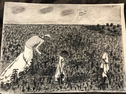 Charcoal Drawing - 19th century sharecropper series