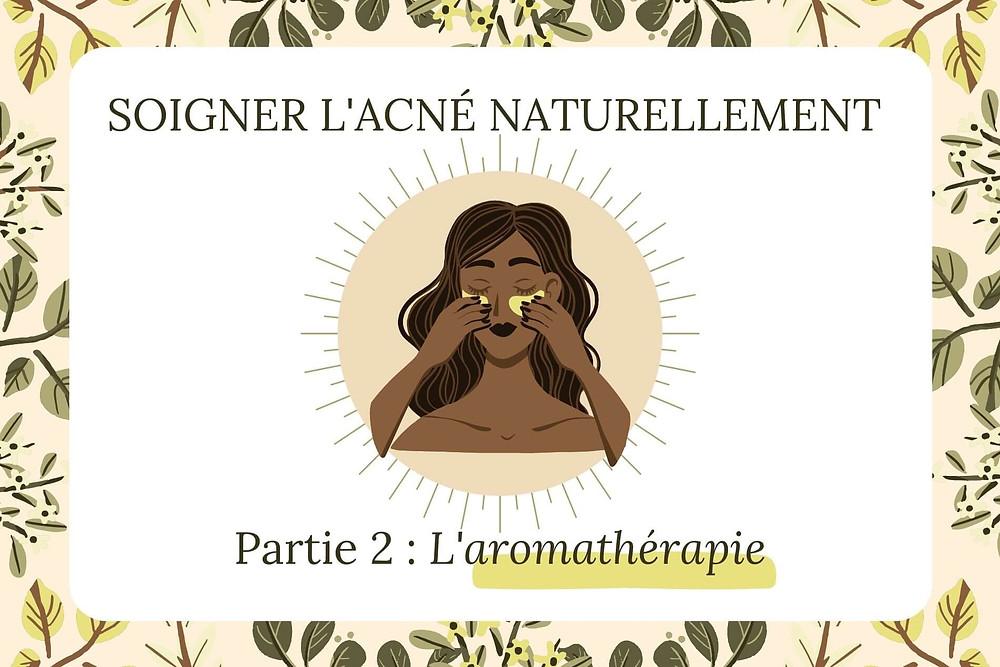 Illustration traiter l'acné naturellement, l'aromathérapie, huiles essentielles