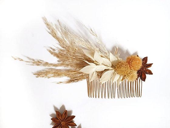 מסרקית בוהו פרחים מיובשים