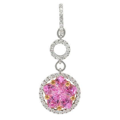 Pink Sapphire & Diamond Flower Pendant