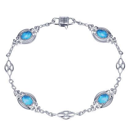 Blue Topaz Textured Link Bracelet