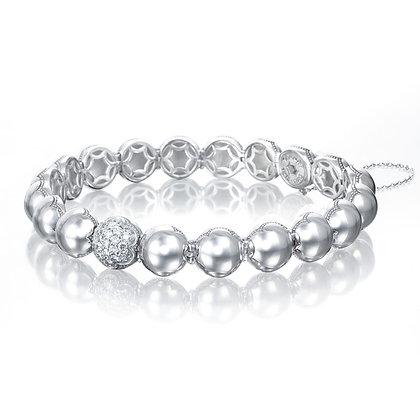 Beaded Bracelet with Single Pavé Link