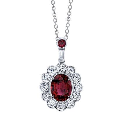 Oval Ruby & Diamond Pendant